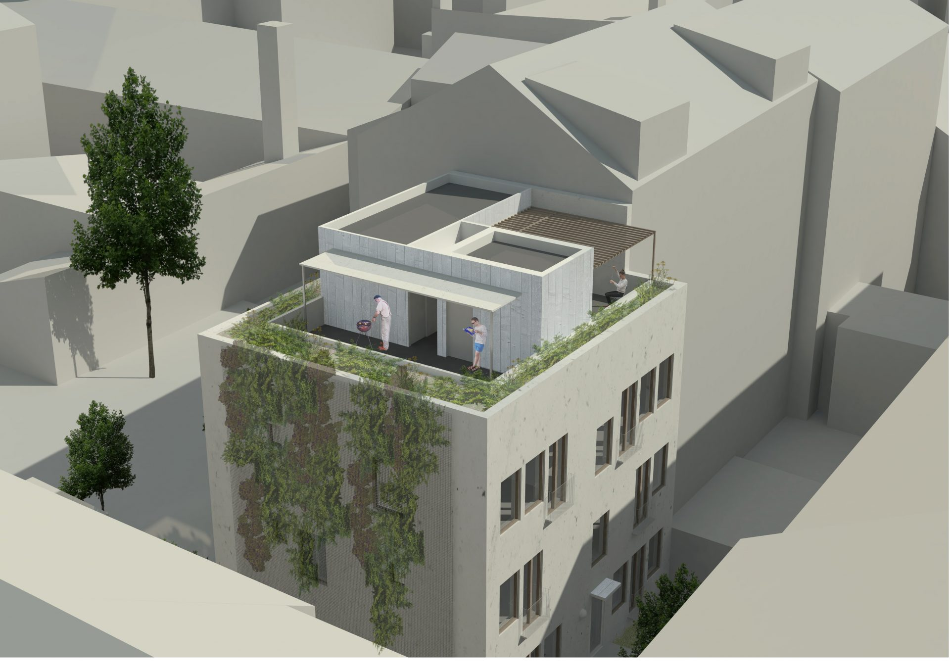 Infill bakgård Grünerløkka takterrasse